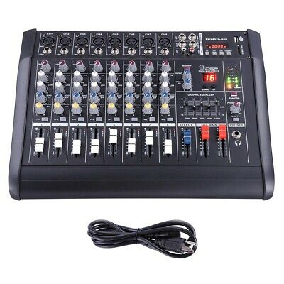 8 Channel Professional Powered Mixer Power Mixing Amplifier W/USB Slot Amp 16DSP