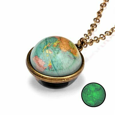 Glow in the Dark Women Solar System Pendant Necklace Galaxy Double Sided Glass