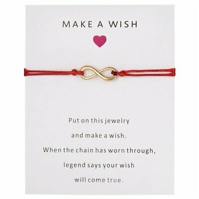 Fashion Women Handmade Infinity Card Bracelet Red Rope String Jewelry Adjustable