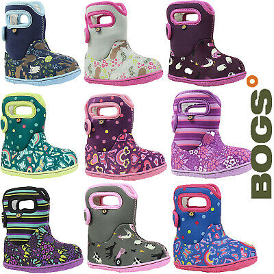 Bogs Wellies Boots Baby Girl Warm Insulated Waterproof Fur Lined -10c Childrens