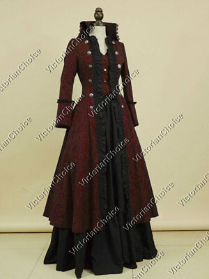 Victorian Gothic Game of Thrones Military Coat Dress Steampunk Theater Gown 176