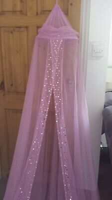 Girls pink bed canopy with sequins