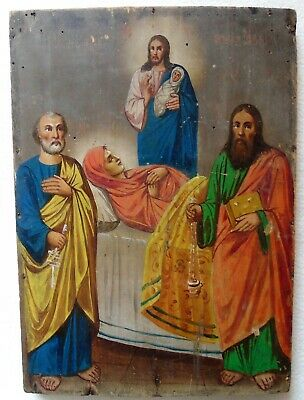 """Antique Russian icon """"Assumption of the Virgin"""". 19th century."""