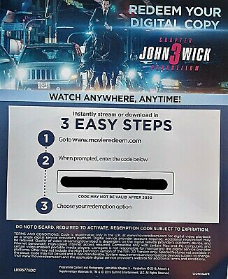 JOHN WICK: Chapter 3 - Parabellum* FILM Download CODE * From 4K Blu-Ray Pack