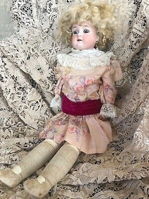 """23"""" Antique German Bisque Doll by Armand Marseille Blonde Mohair Wig Pink Dress"""