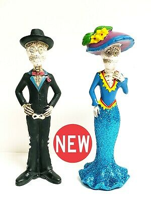 Sugar Skull Day Of The Dead Figurines Tabletop Decorations Set