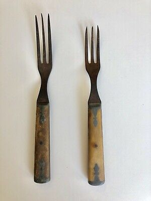 Set Of 2 Antique Civil War Era Bone Handle 3 Tine Forks With Pewter Inlay