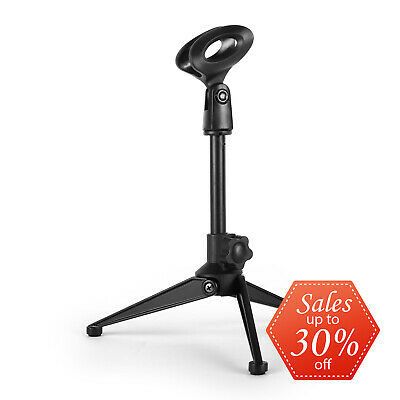 Table Top Microphone Stand Base Mic Stands Adjustable Foldable Clip - Black