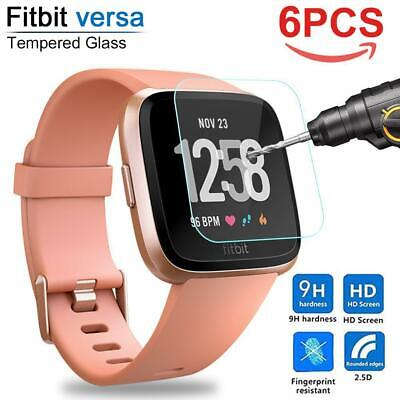 6x For Fitbit Versa 9H Hardness Tempered Glass Screen Protector Smart Watch Film