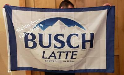 Busch Latte Light Bud Beer Flag 3x5 Indoor Outdoor Banner man cave bar Quality