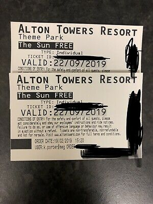 2 Alton Towers tickets - SUNDAY 22ND SEPTEMBER 2019