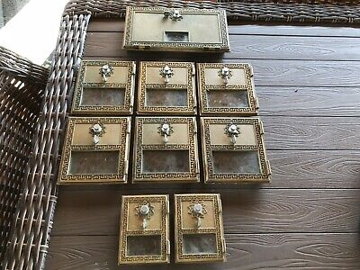 Lot Of 9 Antique Brass Post Office Box Doors- Small,  Medium And Large
