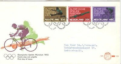 Netherlands Olympische Spiele Olympic Games 1972 set on First Day cover cycling