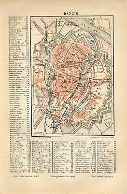 1885 GERMANY DANZIG POLAND GDANSK CITY PLAN Antique Map