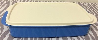 Tupperware Rectangle Divided Dish Lunch Plate Blue w/ Ivory Seal 4 Cups New