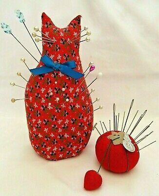 "Vintage Pincushions 8"" Red Cat Tomato Strawberry w/ Hat & Straight Pins & Needle"