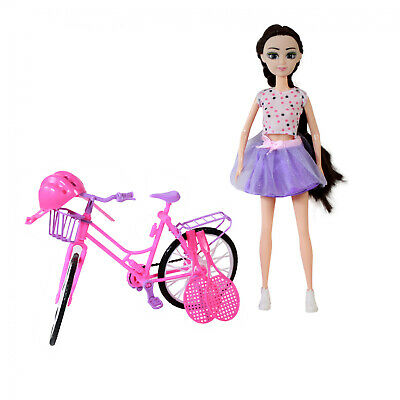 Brunette Doll Play Set With Pink Purple Bike And Sport Equipment