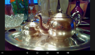 Antique Mexican Silver Plate tray and tea set  Mexico Plateado Marked solid heav