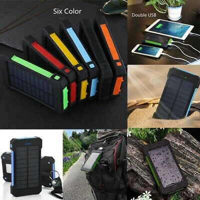 Waterproof Power Bank 8000mAh Travel Portable Solar Battery Charger Pack 2 USB