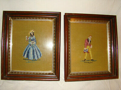 Antique Vtg Victorian Gentleman & Lady Lovers Embroidery Petit Point Framed Set
