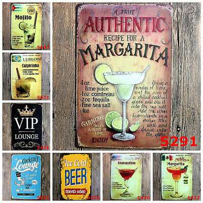 Retro Metal Poster Bar Cafe Cocktail Beer Tin Sign Pub Wall Hanging Home Decor