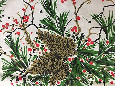 """VTG Christmas Tablecloth Homemade Pine Cones Red Berries 51"""" X 70"""""""
