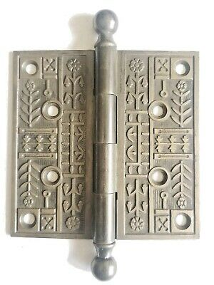 "EA149   Antique Ornate Cast Iron Canon Ball Top Door Hinge Hardware 5"" x 5"""