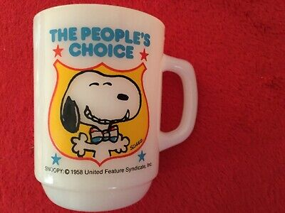 Vintage Anchor Hocking Fire King Snoopy Mug People's Choice 1980 President