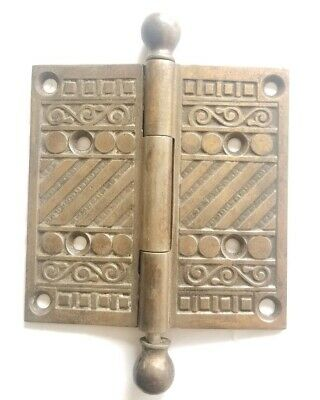 "EA221 Antique Brass Eastlake Ornate Door Hinge 4"" x 4"""