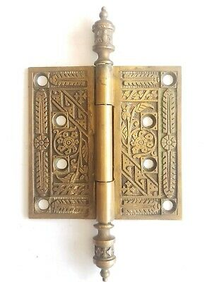 EA54  Antique Ornate Brass Eastlake Door Hinge Hardware 4x 4  Steeple Top