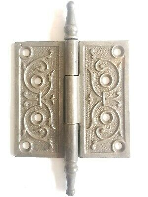 "EA54 Antique Ornate Cast Iron Steeple Top Door Hinge Hardware 4"" x 4"""