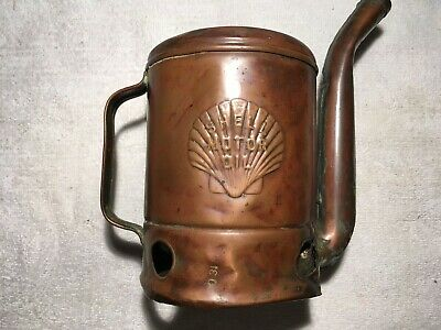 *Shell Oil Co* 1 Quart Copper Swingspout Container Gas Oil Car Truck Auto Can