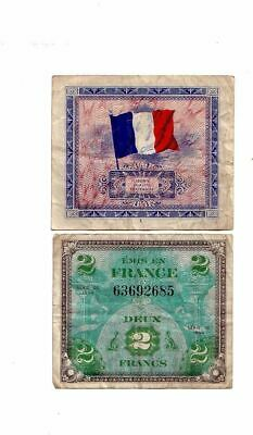 WWII Military MPC money for France 2 Francs  WW2 1944