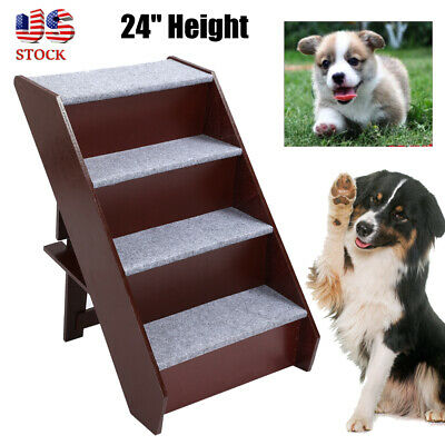 """24"""" Wood Foldable Pet Stairs 4 Steps Puppy Dog Cat Climb Ladder Ramp Steps Stair"""