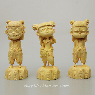 Fine Box-wood Hand-carved The Devil Child Was Born Nezha Chinese Animated 哪吒魔童转世