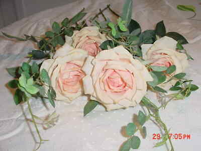 Four (4)  Single   Long Stem  Silk Peach Roses  With Leaves