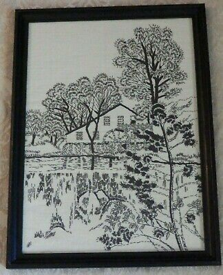 Vintage Framed Completed Crewel Embroidery Black Stitching WATER MILL 18x13