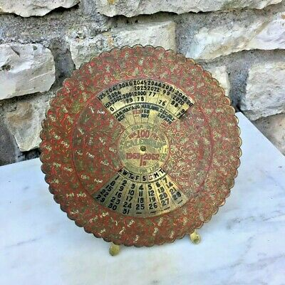 Antique Calendar Brass in English, Art Deco Vintage