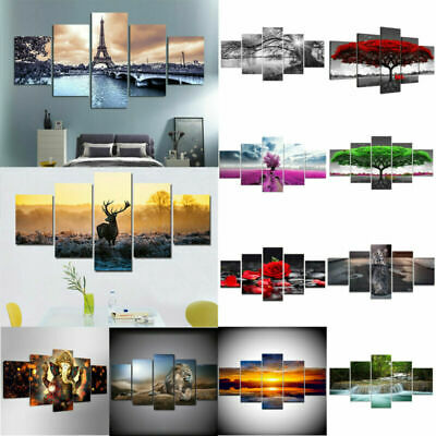 5 Panels Large Wall Printing Picture Canvas Art Home Decor Unframed Modern Split