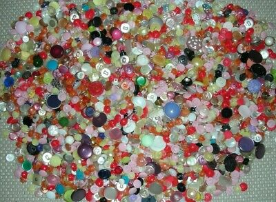 2Lb Lot Pearl-Like Shank Mixed Size & Color Vintage Plastic Sewing Craft Buttons