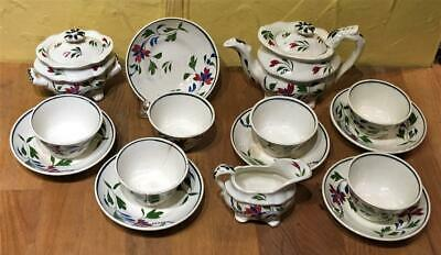 """Staffordshire """"ADAMS"""" Pearlware Handpainted Child's Toy Tea Set, 15 Pieces"""
