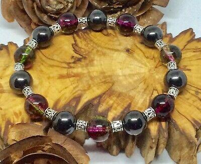 Shungite and Watermelon Tourmaline Protection Bracelet