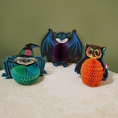 Vintage Halloween Bat Owl Spider Beistle Honeycomb Diecut Decorations