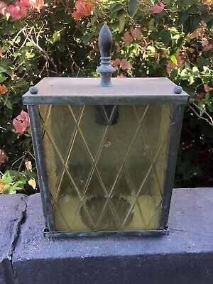 Vintage Outdoor Porch Light Fixture Amber Tudor Glass  Mid century
