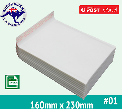 160mm x 230mm Bubble Padded Bag Mailer White Printed Kraft Cushioned Envelopes