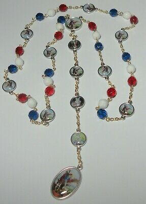 Patriotic Colors Angelic Crown of St Michael Chaplet Rosary Handmade in the USA