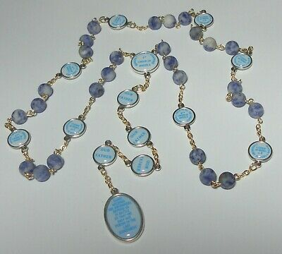 Handmade in USA Angelic Crown of St Michael Rosary Chaplet Genuine Blue Sodalite