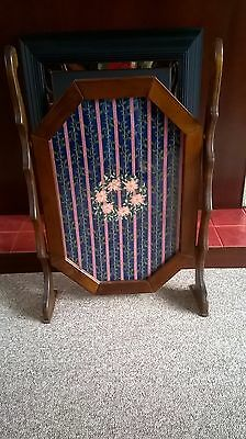 Antique Style Fire Screen Needle Work Tapestry Totally Hand Made Wooden frame