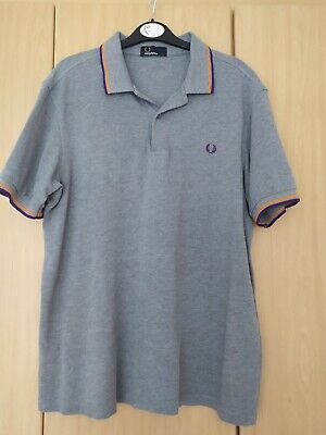 Fred Perry Mens Grey Cotton Polo Shirt Size Large