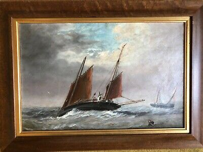 19th CENTURY ANTIQUE OIL on CANVAS - VICTORIAN MARINE PAINTING - NO RESERVE